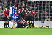 AFC Bournemouth manager Eddie Howe is mobbed by mates his team after making a save during the Premier League match between Bournemouth and Brighton and Hove Albion at the Vitality Stadium, Bournemouth, England on 21 January 2020.