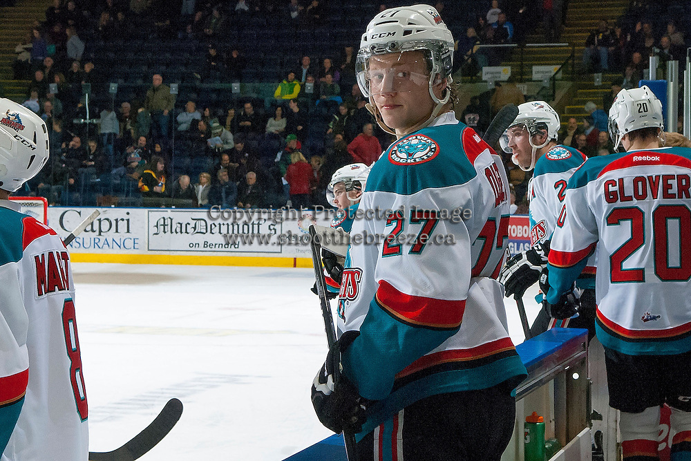KELOWNA, CANADA -FEBRUARY 5: Ryan Olsen #27 of the Kelowna Rockets stands on the bench against the Red Deer Rebels on February 5, 2014 at Prospera Place in Kelowna, British Columbia, Canada.   (Photo by Marissa Baecker/Getty Images)  *** Local Caption *** Ryan Olsen;