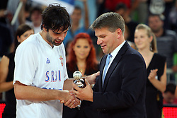 Milos Teodosic of Serbia and Roman Volcic at friendly match between Serbia and Croatia for Adecco Cup 2011 as part of exhibition games before European Championship Lithuania on August 9, 2011, in SRC Stozice, Ljubljana, Slovenia. (Photo by Urban Urbanc / Sportida)