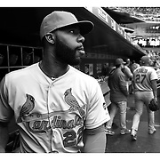 Jason Heyward, St. Louis Cardinals, in the dugout during the New York Mets Vs St. Louis Cardinals MLB regular season baseball game at Citi Field, Queens, New York. USA. 21st May 2015. Photo Tim Clayton