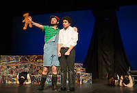 """Tom Pouliot the Nasty Interesting Man/Child and Jack Harding Orpheus during dress rehearsal for """"Eurydice"""" at Gilford High School on Wednesday afternoon.  (Karen Bobotas/for the Laconia Daily Sun)"""