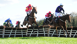 Mr Adjudicator and Patrick Mullins (right) beats Contingency (left) and Dorrells Pierji (right) to win the Ballymore Handicap Hurdle during day five of the Punchestown Festival at Punchestown Racecourse, County Kildare, Ireland.