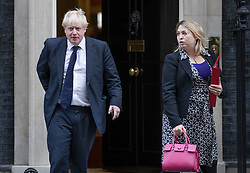 © Licensed to London News Pictures. 22/11/2017. London, UK. Foreign Secretary Boris Johnson follows Culture Secretary Karen Bradley out of Numer 10 Downing Street after attending a pre-budget cabinet meeting. Photo credit: Peter Macdiarmid/LNP