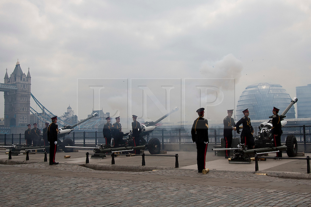 © licensed to London News Pictures. LONDON, UK  02/06/11. Members of the Honourable Artillery Company (HAC) fire a 62 gun salute at the Tower of London to mark the anniversary of the Queen's ascension to the throne in 1953 . Please see special instructions for usage rates. Photo credit should read Matt Cetti-Roberts/LNP