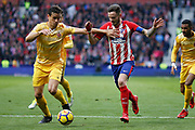 Atletico Madrid's Spanish midfielder Saul Niguez vies for the ball during the Spanish championship Liga football match between Club Atletico de Madrid and Girona FC on January 20, 2018 at the Wanda Metropolitano stadium in Madrid, Spain - Photo Benjamin Cremel / ProSportsImages / DPPI