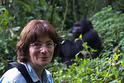 Rwanda, Volcanoes National Park (Parc National des Volcans) European Tourist and Gorilla