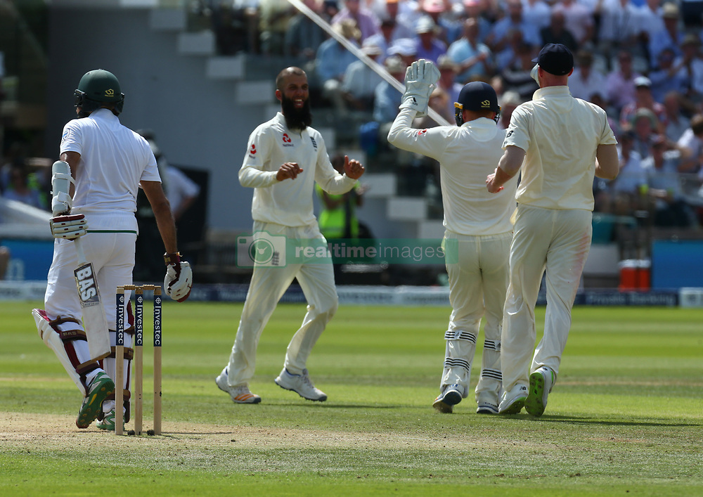 July 7, 2017 - London, United Kingdom - England's Moeen Ali  celebrates LBW on Hashim Amla of South Africa .during 1st Investec Test Match between England and South Africa at Lord's Cricket Ground in London on July 06, 2017  (Credit Image: © Kieran Galvin/NurPhoto via ZUMA Press)