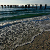 BOCA GRANDE, FL -- January 4, 2008 -- waves crash around the remains of an old pier in Boca Grande, Fla., on Sunday, January 4, 2008.  Boca Grande is a small Old-Florida community on Gasparilla Island, with no traffic lights, billboard or condo development, which attracts both seasonal and year-round affluent residents.