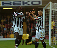 Photo: Tony Oudot/Sportsbeat Images.<br /> Watford v West Bromwich Albion. Coca Cola Championship. 03/11/2007.<br /> Ishmael Miller of West Brom celebrates his first goal with Kevin Phillips