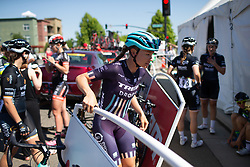 Tayler Wiles (USA) of Trek-Drops Cycling Team walks to the podium to sign on before Stage 1 of the Amgen Tour of California - a 124 km road race, starting and finishing in Elk Grove on May 17, 2018, in California, United States. (Photo by Balint Hamvas/Velofocus.com)