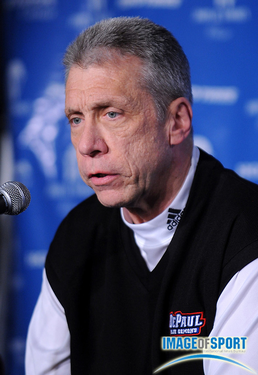 Dec 12, 2008; Anaheim, CA, USA; De Paul Blue Demons coach Jerry Wainwright at the Wooden Conference press conference at the Honda Center.