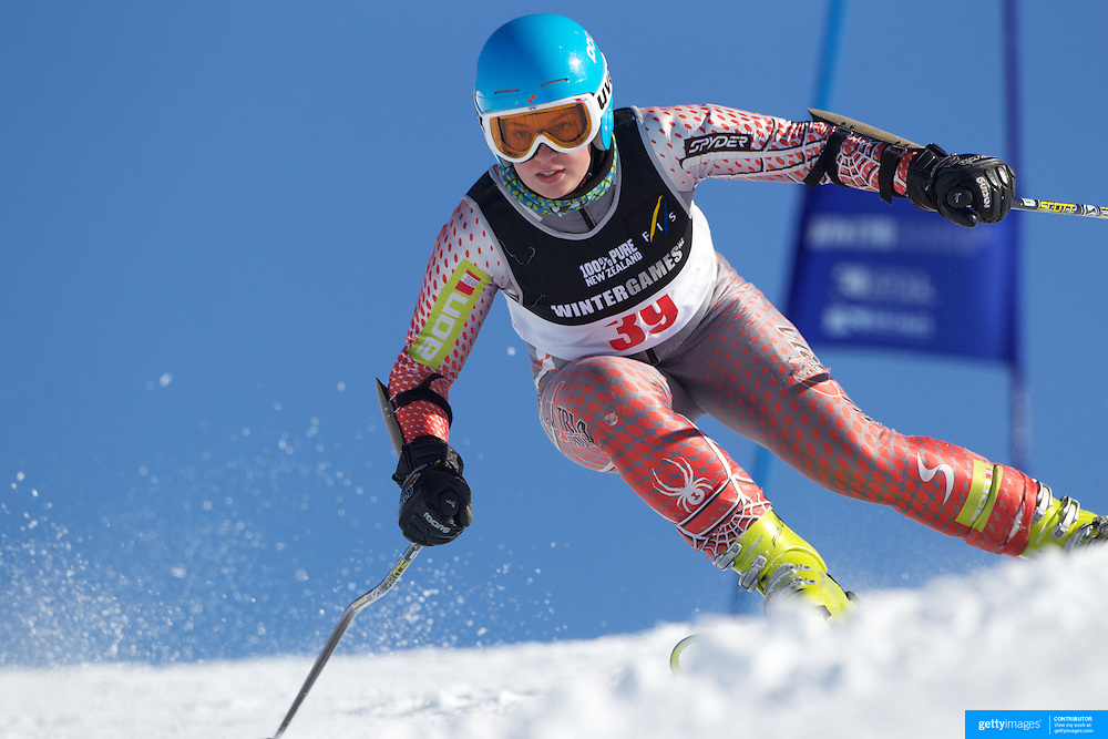 Devon Engle, USA, in action during the Women's Giant Slalom competition at Coronet Peak, New Zealand during the Winter Games. Queenstown, New Zealand, 23rd August 2011. Photo Tim Clayton