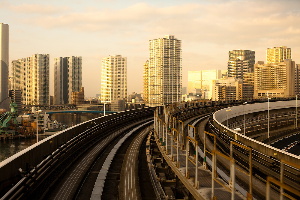 Yurikamome elevated train line, Tokyo, Kanto Region, Honshu, Japan