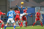 Matt Done wins the ball during the EFL Sky Bet League 1 match between Rochdale and Walsall at Spotland, Rochdale, England on 23 December 2017. Photo by Daniel Youngs.