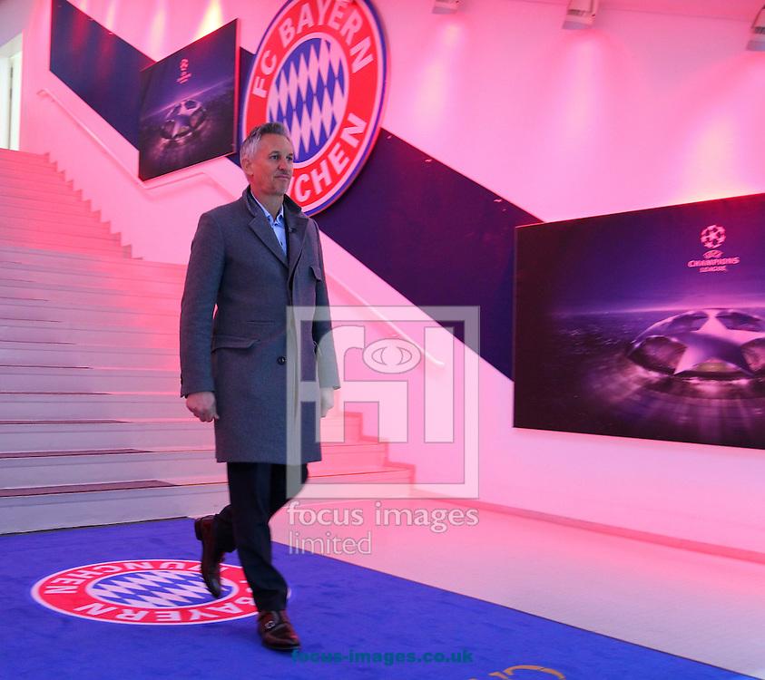 Garry Lineker walks towards the entrance of the stadium l during the UEFA Champions League match at Allianz Arena, Munich<br /> Picture by Yannis Halas/Focus Images Ltd +353 8725 82019<br /> 15/02/2017