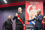 Sean Tolouee of Turkey during the official weighing Muay Thai Thai Boxing fight between Patrice Quarteron and Sean Tolouee on December 13, 2017 at AccorHotels Arena in Paris, France - Photo Pierre Charlier / ProSportsImages / DPPI