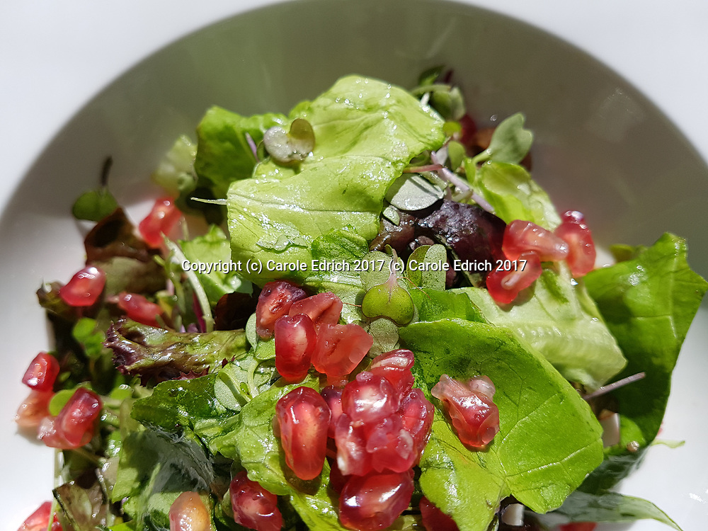 Fresh pomegranate salad in white bowl at Cuit, Nakar Hotel. (c) Carole Edrich 2017