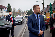Bodygards of Czech president Milos Zeman during the arrival at the village of Brasy located in the Pilsen Region.  Miloš Zeman (born 28 September 1944) is the third and current President of the Czech Republic, in office since 8 March 2013.  He announced his candidacy for the 2018 presidential elections which will be held in the Czech Republic on 12–13 January.