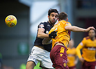 23rd December 2017, Fir Park, Motherwell, Dundee; Scottish Premier League football, Motherwell versus Dundee; Dundee's Sofien Moussa competes in the air with Motherwell's Peter Hartley