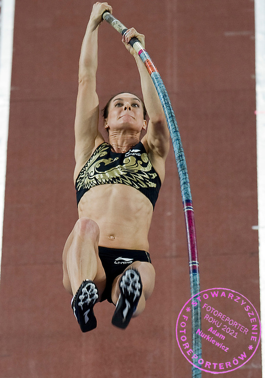 Elena Isinbaeva ( Jelena Isinbajewa ) of Russia competes in women's pole vault during indoor athletics meeting Pedro's Cup 2012 at Luczniczka Hall in Bydgoszcz, Poland.<br /> <br /> Poland, Bydgoszcz, February 8, 2012.<br /> <br /> Picture also available in RAW (NEF) or TIFF format on special request.<br /> <br /> For editorial use only. Any commercial or promotional use requires permission.<br /> <br /> Mandatory credit:<br /> Photo by &copy; Adam Nurkiewicz / Mediasport