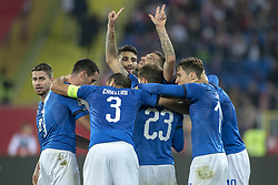October 14, 2018 - Chorzow, Poland - Italian players celebrate scoring during the UEFA Nations League A match between Poland and Italy at Silesian Stadium in Chorzow, Poland on October 14, 2018  (Credit Image: © Andrew Surma/NurPhoto via ZUMA Press)
