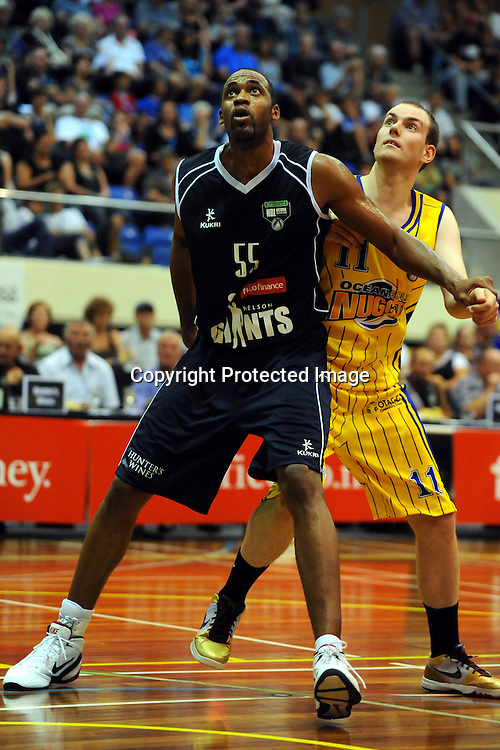 Gaints Michael Harrison(L) and Nuggets Matt Gillan(R). NBL - Nelson Giants v Otago Nuggets at the Trafalgar centre, Nelson on Friday 19 March 2010. Photo: Chris Symes/PHOTOSPORT