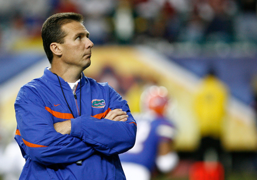 Florida head coach Urban Meyer during the SEC Championship game between the Arkansas Razorbacks and the Florida Gators at the Georgia Dome in Atlanta, GA on December 2, 2006.<br />