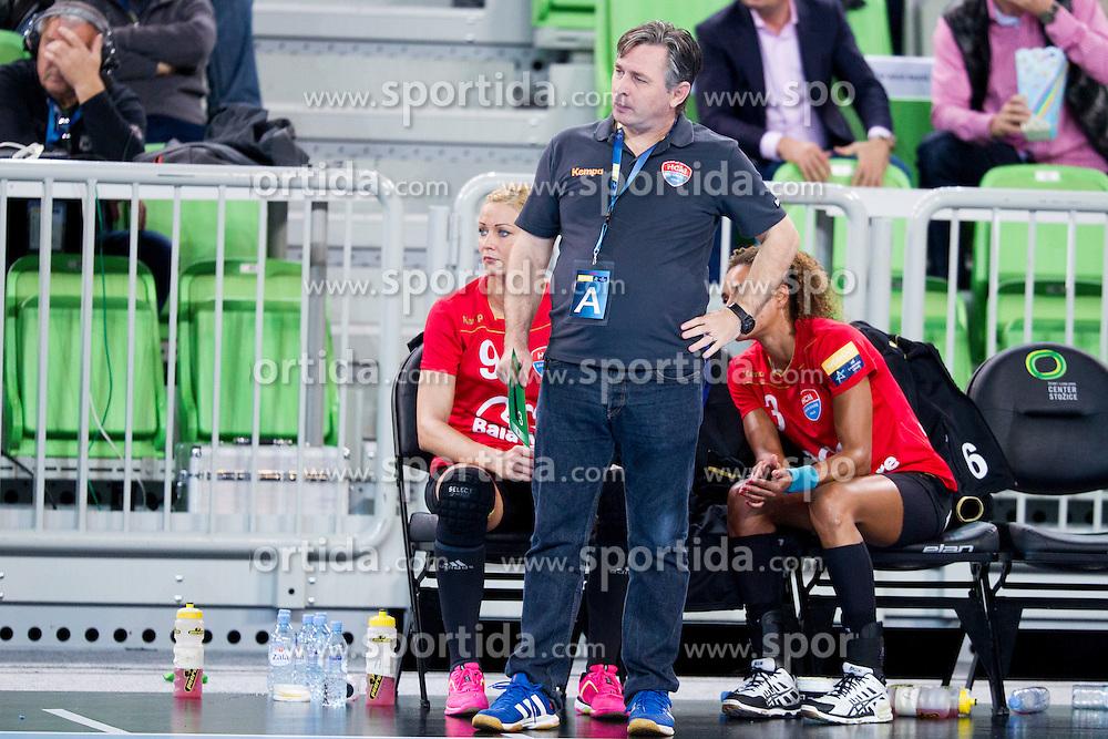 Aurelian Rosca, head coach of HCM Baia Mare during handball match between RK Krim Mercator (SLO) and HCM Baia Mare (ROM) in 1st Round of Women's EHF Champions League 2015/16, on October 16, 2015 in Arena Stozice, Ljubljana, Slovenia. Photo by Urban Urbanc / Sportida