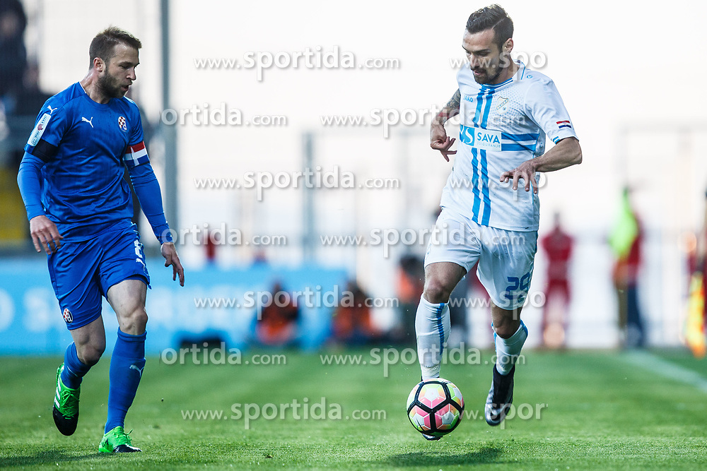 Marko Vesovic #29 of HNK Rijeka and Domagoj Antolic #8 of GNK Dinamo Zagreb during football match between HNK Rijeka and GNK Dinamo Zagreb in Round #27 of 1st HNL League 2016/17, on November 5, 2016 in Rujevica stadium, Rijeka, Croatia. Photo by Grega Valancic / Sportida