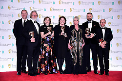 The crew of The Favourite after winning the Outstanding British Film Bafta in the press room at the 72nd British Academy Film Awards held at the Royal Albert Hall, Kensington Gore, Kensington, London.