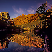 Colorado, Southwest<br /> Sunrise at Dream Lake, Rocky Mountain National Park, Colorado.