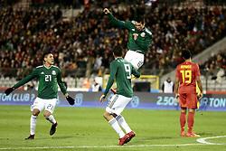 November 10, 2017 - Bruxelles, Belgique - Hirving Lozano forward of Mexico celebrates scoring a second goal (Credit Image: © Panoramic via ZUMA Press)
