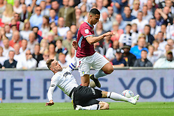 May 27, 2019 - London, England, United Kingdom - Richard Keogh (6) of Derby County tackles Anwar El Ghazi (22) of Aston Villa during the Sky Bet Championship match between Aston Villa and Derby County at Wembley Stadium, London on Monday 27th May 2019. (Credit: Jon Hobley | MI News) (Credit Image: © Mi News/NurPhoto via ZUMA Press)