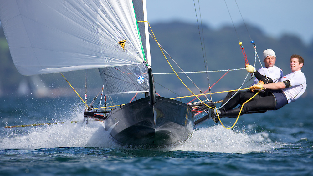 ENGLAND, Falmouth, Restronguet Sailing Club, 9th September 2009, International 14 Prince of Wales Cup Week, POW Cup Race, GBR1530 Rob Greenhalgh and Simon Marks