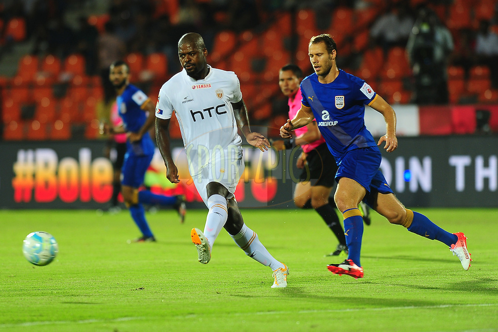 Romaric of NorthEast United FC during match 7 of the Indian Super League (ISL) season 3 between Mumbai City FC and NorthEast United FC held at the Mumbai Football Arena in Mumbai, India on the 7th October 2016.<br /> <br /> Photo by Faheem Hussain / ISL/ SPORTZPICS