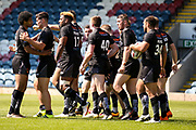 Bradford Bulls replacement Edward Chapelhow (39)  celebrates his try for the Bradford Bulls during the Kingstone Press Championship match between Rochdale Hornets and Bradford Bulls at Spotland, Rochdale, England on 18 June 2017. Photo by Simon Davies.