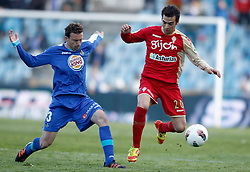 07.04.2012, Stadion Coliseum Alfonso Perez, Getafe, ESP, Primera Division, FC Getafe vs Sporting Gijon, 32. Spieltag, im Bild Getafe's Mane against Sporting de Gijon's Miguel de las Cuevas // during the football match of spanish 'primera divison' league, 32th round, between FC Getafe and Sporting Gijon at Coliseum Alfonso Perez stadium, Getafe, Spain on 2012/04/07. EXPA Pictures © 2012, PhotoCredit: EXPA/ Alterphotos/ Alvaro Hernandez..***** ATTENTION - OUT OF ESP and SUI *****