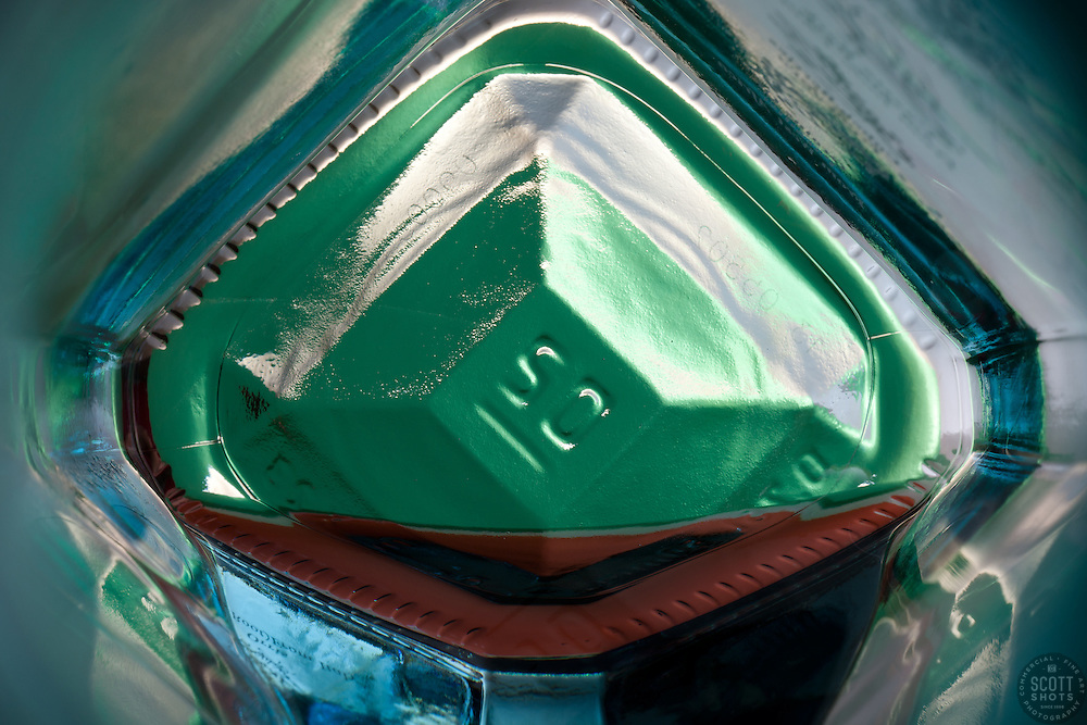 """Beauty at the Bottom: Gin 2"" - This is a photograph of a gin bottle, shot right down inside the mouth of the bottle."