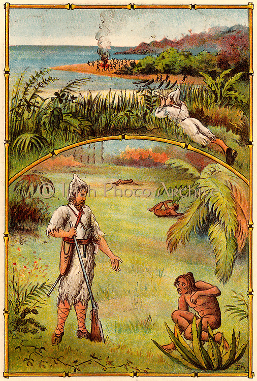The Life and Strange Surprising Adventures of Robinson Crusoe by Daniel Defoe.  First published in 1719, it is claimed to be the first English novel. Defoe, having spent 15 years alone on his island, rescues Friday from the cannibals who have visited the island.   From 'Bubbles' c1900 published by Dr Barnados Homes for Children. Oleograph.