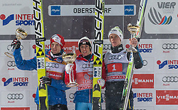 29.12.2014, Schattenbergschanze, Oberstdorf, GER, FIS Ski Sprung Weltcup, 63. Vierschanzentournee, Podium, im Bild vl. zweiter Platz Michael Hayboeck (AUT), Sieger Stefan Kraft (AUT), dritter Platz Peter Prevc (SLO) // from left to right second Placed Michael Hayboeck of Austria, Winner Stefan Kraft of Austria, third Place Peter Prevc of Slovenia celebrate on Podium of 63 rd Four Hills Tournament of FIS Ski Jumping World Cup at the Schattenbergschanze, Oberstdorf, Germany on 2014/12/29. EXPA Pictures © 2014, PhotoCredit: EXPA/ Peter Rinderer
