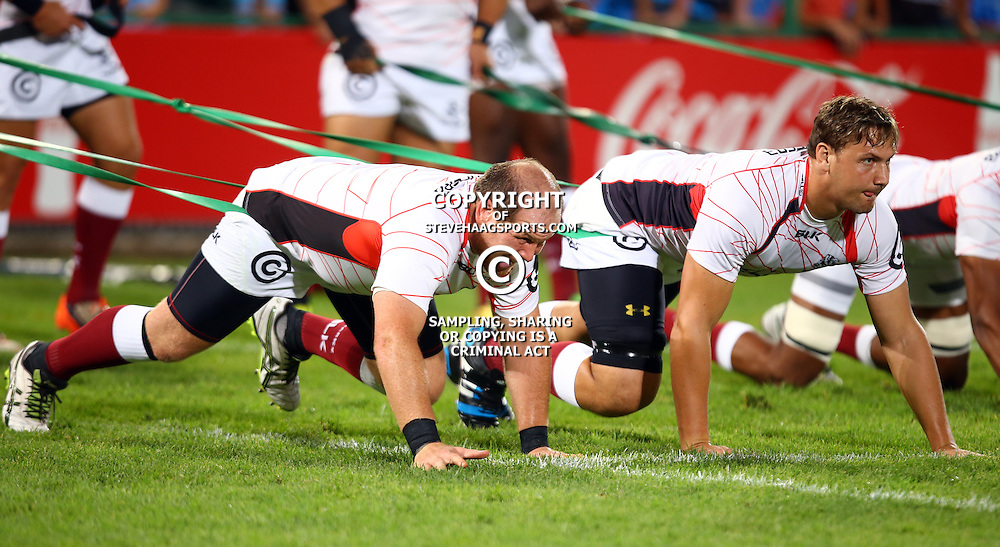 Pretoria, SOUTH AFRICA, - Friday 18 March,Lourens Adriaanse with  Etienne Oosthuizen of the Cell C Sharks during the Vodacom Bulls vs The Cell C Sharks Super rugby match at Loftus Versfeld, Pretoria, South Africa. (Photo by Steve Haag)<br /> <br /> images for social media must have consent from Steve Haag