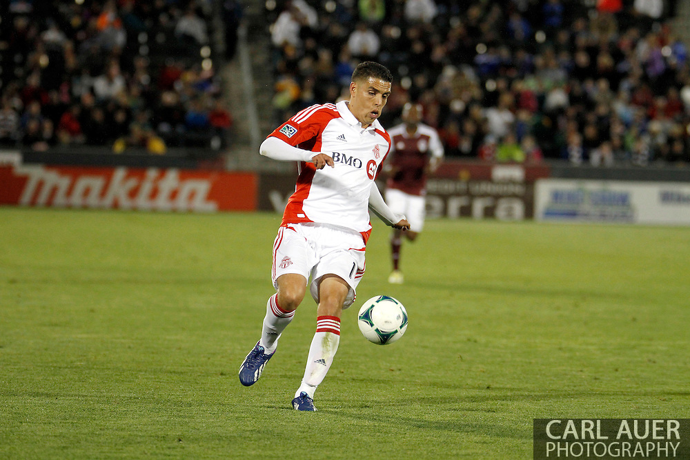 May 4th, 2013 Commerce City, CO - Toronto FC midfielder Luis Silva (11) dribbles the ball up the pitch in the second half of action in the MLS match between the Toronto FC and the Colorado Rapids at Dick's Sporting Goods Park in Commerce City, CO