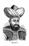 Bayezid I (1347-1403) Sultan of Ottoman empire from 1389-1402; defeated by Tamerlane (Timur) 1402. Wood engraving.