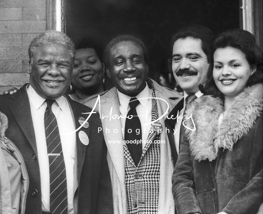 (1985) Mayor Harold Washington campaigns for County Commissioner candidate Jerry Butler and Aldermanic candidate Jesus Garcia and his wife Evelyn.