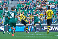 (C) Tomasz Holota of Slask Wroclaw controls the ball during international friendly soccer match between WKS Slask Wroclaw and BVB Borussia Dortmund on Municipal Stadium in Wroclaw, Poland.<br /> <br /> Poland, Wroclaw, August 6, 2014<br /> <br /> Picture also available in RAW (NEF) or TIFF format on special request.<br /> <br /> For editorial use only. Any commercial or promotional use requires permission.<br /> <br /> Mandatory credit:<br /> Photo by © Adam Nurkiewicz / Mediasport
