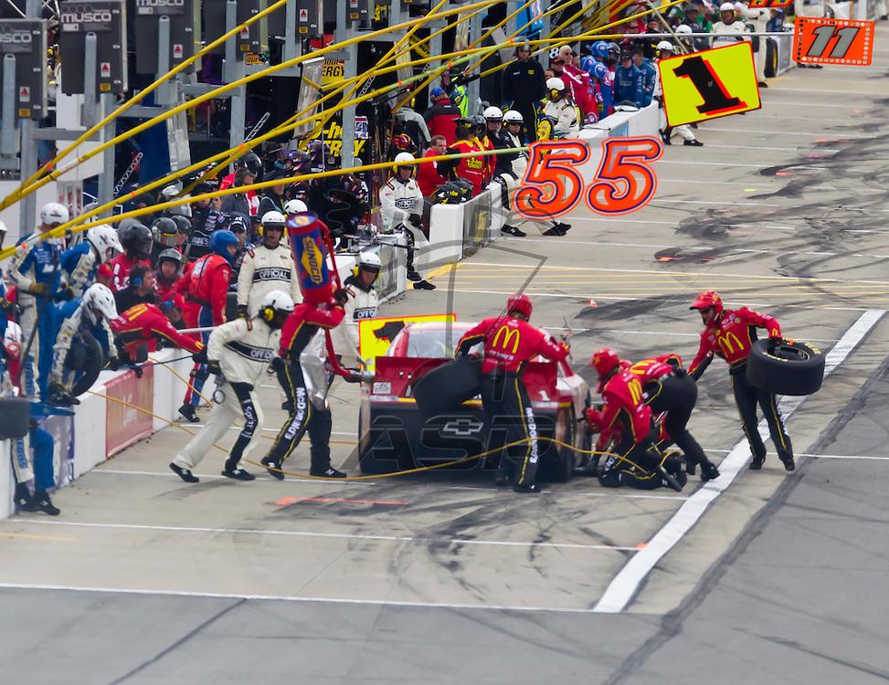 KANSAS CITY, KS - APR 22, 2012:  Jamie McMurray (1) races during the STP 400 at the Kansas Speedway in Kansas City, KS.