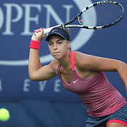 Ana Konjuh, Croatia, in action against Tornado Alicia Black, USA, during the Junior Girls' Singles Final at the US Open. Flushing. New York, USA. 8th September 2013. Photo Tim Clayton