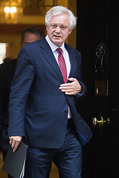 Downing Street, London, October 18th 2016. Secretary of State for Exiting the European Union David Davis leaves 10 Downing Street in London following the weekly cabinet meeting.