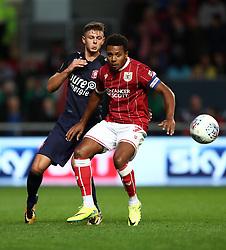 Korey Smith of Bristol City holds off Alexander Laukart of FC Twente - Mandatory by-line: Gary Day/JMP - 28/07/2017 - FOOTBALL - Ashton Gate Stadium - Bristol, England - Bristol City v FC Twente - Pre-season friendly