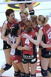 05-03-2006 VOLLEYBAL: FINAL 4 DAMES:  HCC MARTINUS - PLANTINA LONGA: ROTTERDAM<br /> In een mooie finale was Martinus in 4 sets te sterk voor Longa / Elles Leferink, Nathalie Reulink en Anja Krause<br /> Copyrights2006-WWW.FOTOHOOGENDOORN.NL